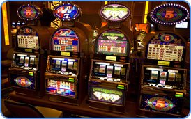 Traditional 3-reel slot machines at land-based casino