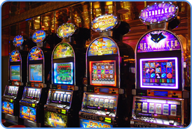 Traditional slot machines at land-based casino