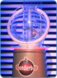 Thunderball lotto draw machine in TV studio