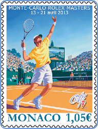 Rolex Masters Tennis Tournament in Monte Carlo, Monaco in 2013 on postage stamp