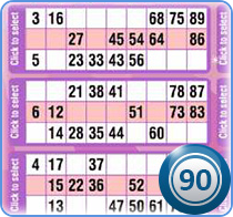 The part of 90 ball bingo playing card