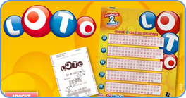 French Lotto blank coupon playslip and printed ticket