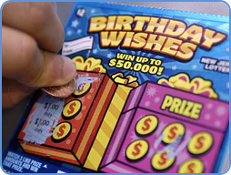Happy Birthday colour lottery scratch card ticket