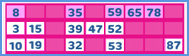 90 ball bingo game - any one line winning combination graphic