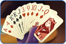 Playing rummy card game graphic